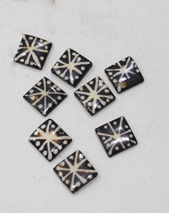 Beads Indonesian Batik Bone Square Beads 22mm