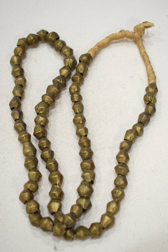 Beads African Brass Bicone Beads 8-10mm