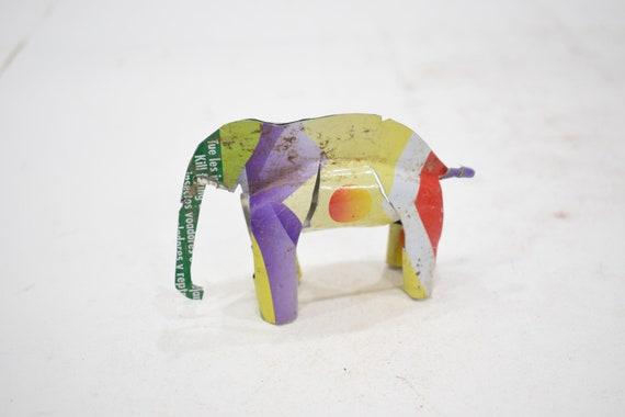 African Folk Art Toy Elephant Recycled Tin Can Elephant Tanzania Toy Elephant