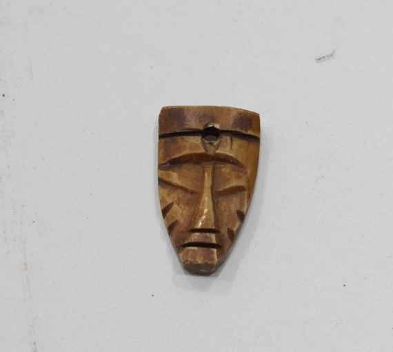 Beads Bone Pendant African Mask Vintage Carved Bone Mask Pendant