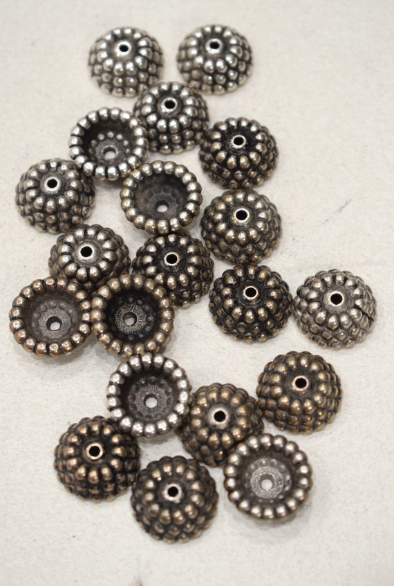Beads Silver and Gold Ornate Pebbled Round Bead Caps 17mm