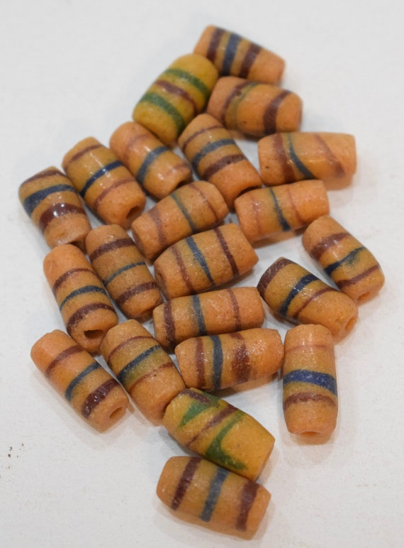 Beads African Sandcast Glass Yellow Stripe Vintage 14mm - 17mm