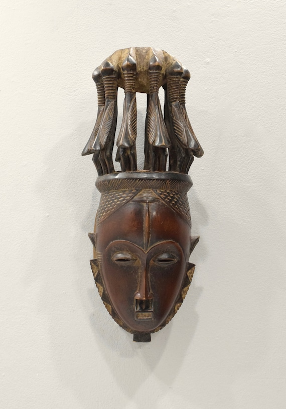 Mask African Baule Bird Crest Mask 17.5""