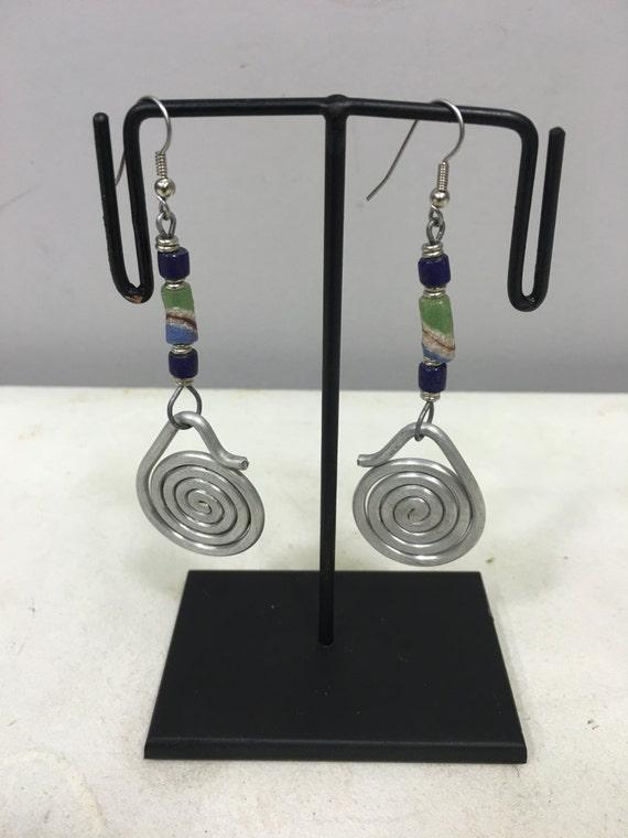 Earrings African Aluminum Loop Coiled Green Sandcast Bead Masai Beaded Earrings Handmade Aluminum Women Earrings Unique Tribal E12
