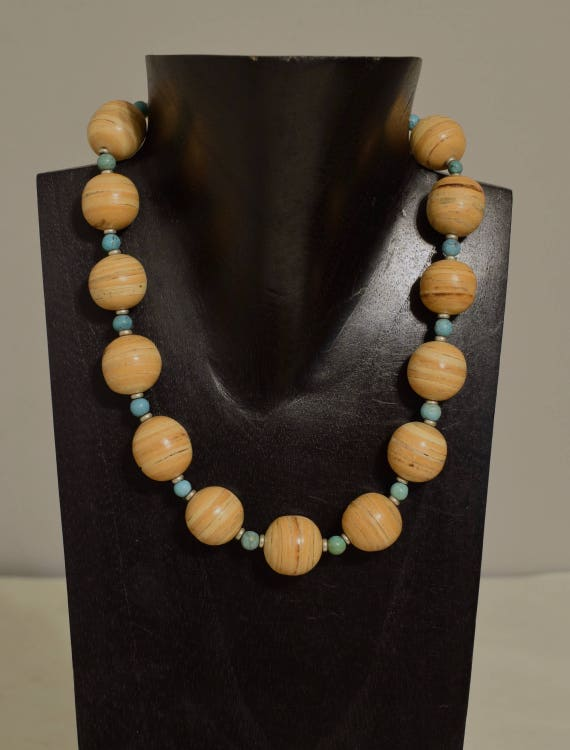 Necklace Inlaid Philippine Palmwood Beads Chinese Turquoise Handmade Jewelry Natural Wood Beads Round Blue Turquoise Chunky Necklace