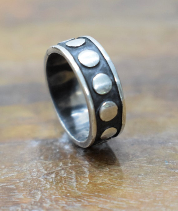 Ring Sterling Silver Etched Dot Band Ring