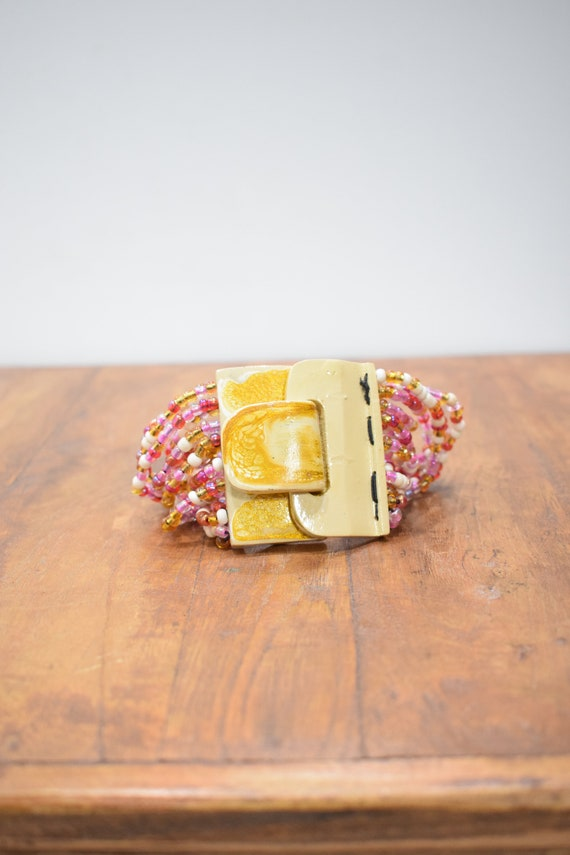 Bracelet Beaded Pink White Hand Painted Buckle Clasp Bracelet
