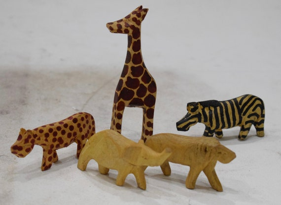 African Set of 5 Carved and Painted Wood Animals Kenya