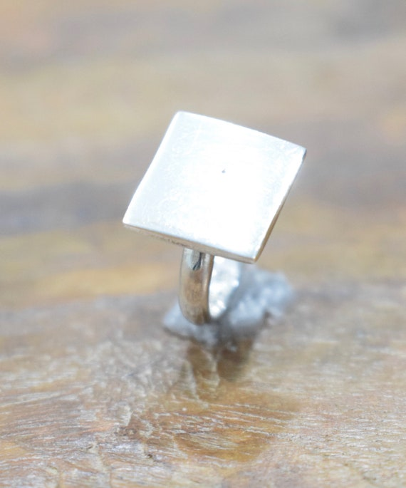 Ring Sterling Silver Square Initial Ring