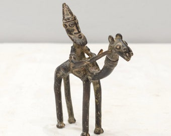 African Bronze Camel and Rider Figure