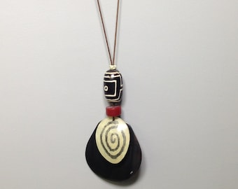 Cord Necklace  Indonesian Horn Pendant with Coconut Painted Pendant Dzi Resin Handmade Handcrafted Jewelry Unique Statement