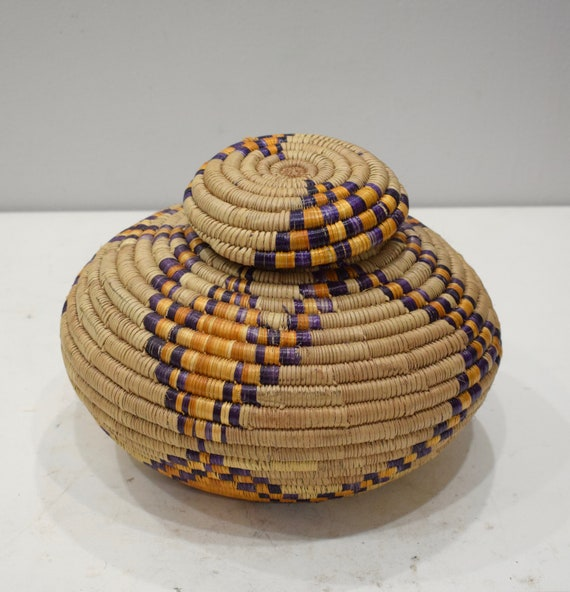 Basket African Tanzania Basket Woven River Weeds Tribal Basket