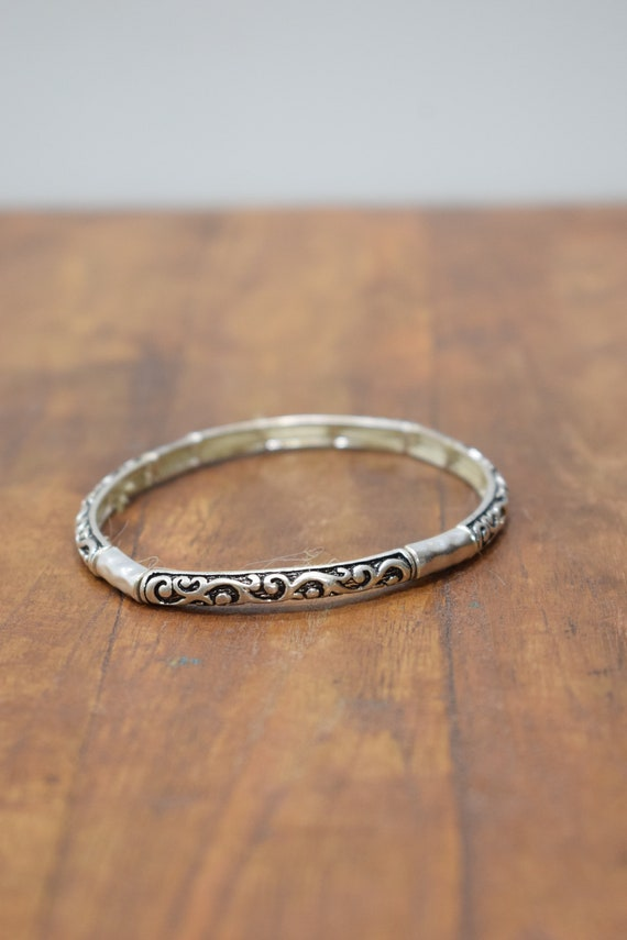 Bracelet Plated Silver Small Stretch Bangle Ornate Bracelet