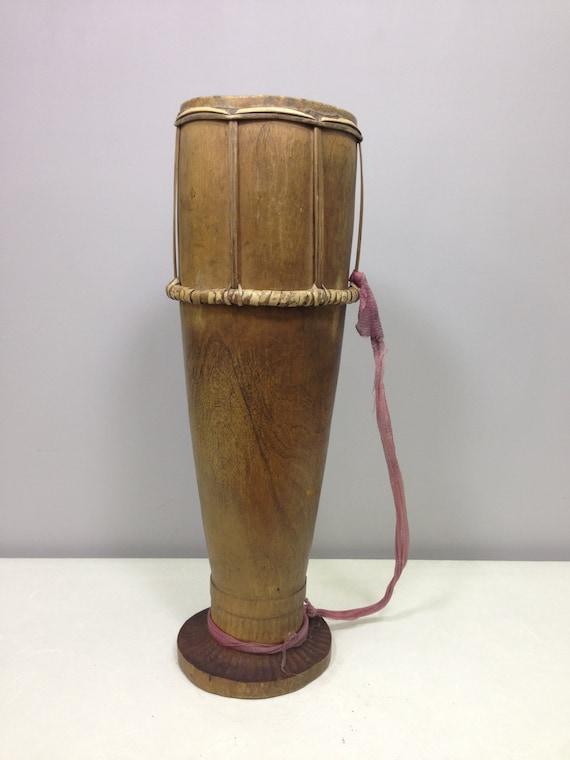 Drum Wood Indonesian Timor Handmade  Musical Drum Wood Drum Unique Statement