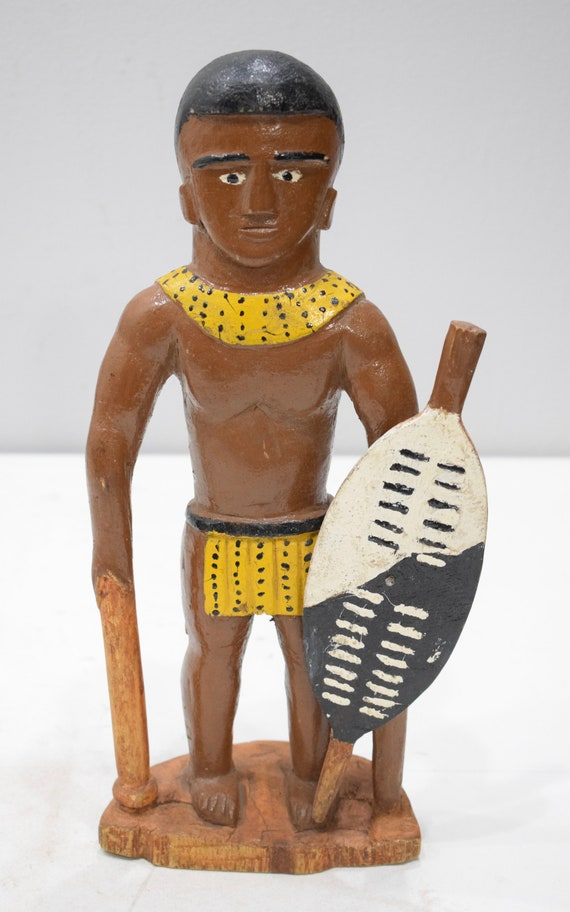 African Statue Zulu Warrior Folk Art Doll South Africa 14""