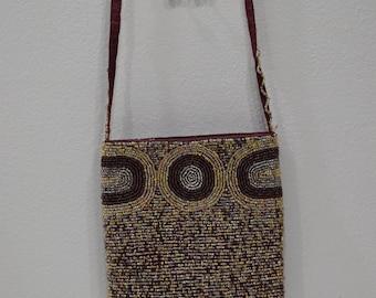 Purse Beaded Brown Gold Shoulder Bag