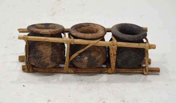 African Clay Triple Pots Kenya Storage Bamboo Clay Pots