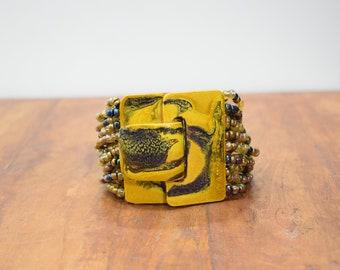 Bracelet Beaded Iridescent Gold Blue Hand Painted Buckle Clasp Bracelet