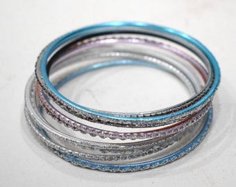 Bangle Bracelets Assorted Set of10 Glitter Bangles