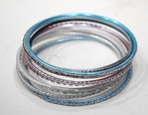 Bracelets Assorted Sets of 10 Red Blue Gold Silver Purple Glitter Bangle Bracelets