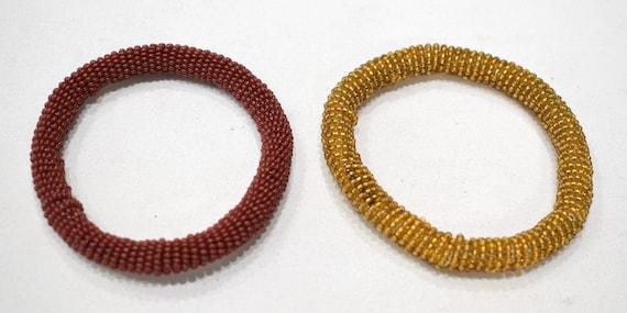 "African 2 Masai Colored Bangle Bracelets Kenya 4"" (A)"