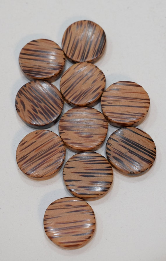 Beads Philippine Natural Palmwood Round Flat Vintage Beads 20mm