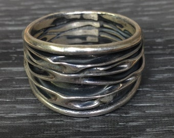 Ring Sterling Silver Oxidized Band Ring Hill Tribe Silver
