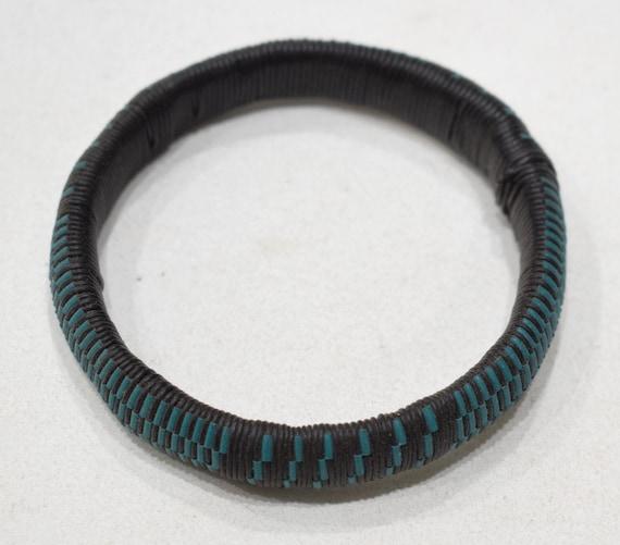 "African 2 Tuareg Blue Black Woven Bracelets 3.5"""