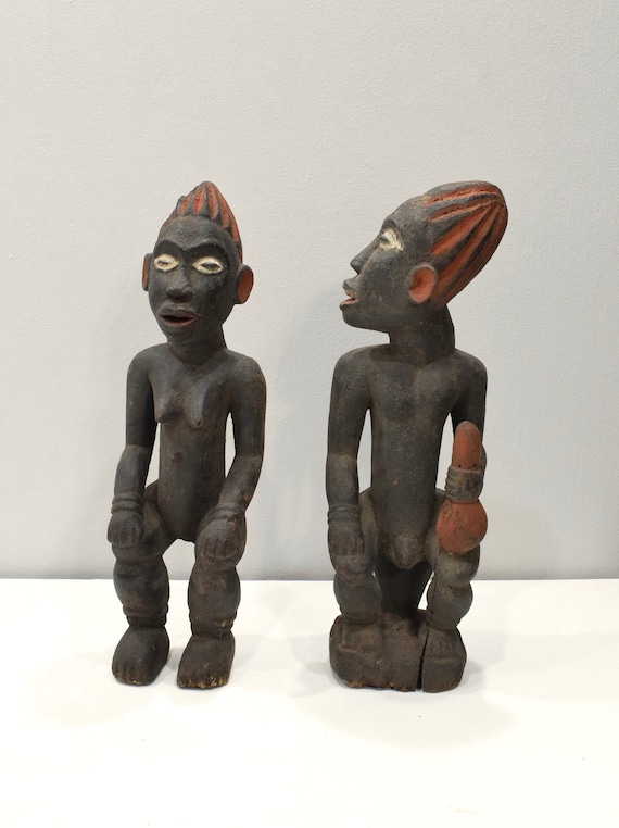 Statues Bamileke/Bamum Wood Male Female Statues 20""