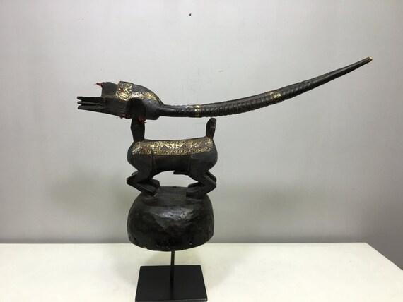 African Mask Chi Wara Male Wood Helmet Antelope Brass Mali Mask