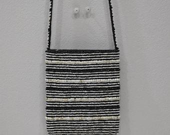 Purse Beaded Black White Shoulder Bag