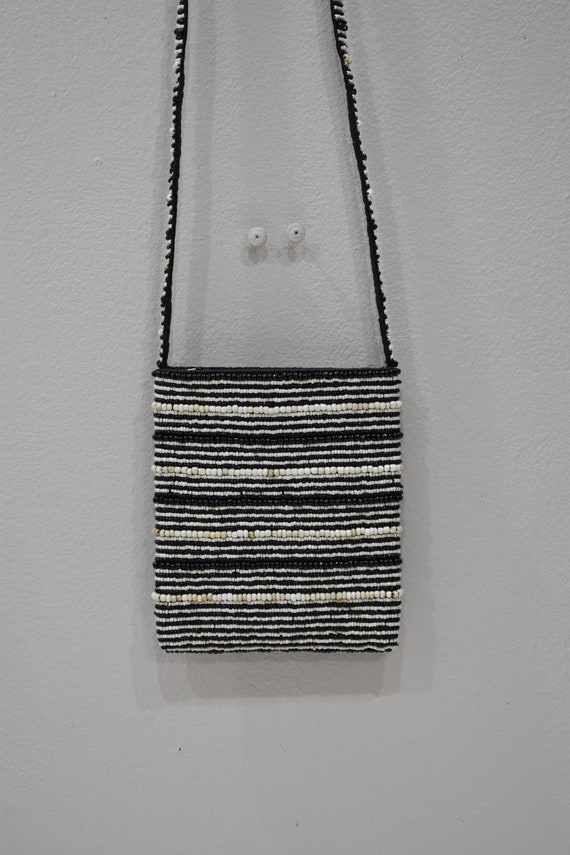 Purse Beaded Black White Shoulder Bag