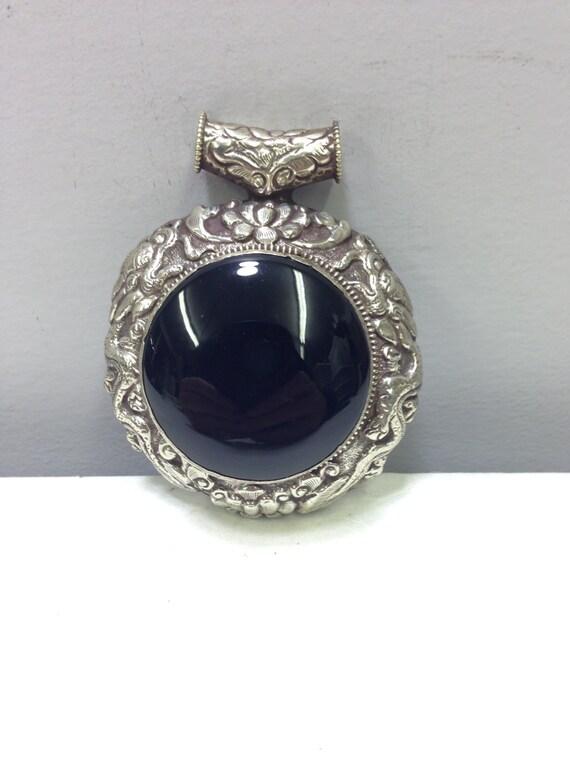 Pendant Silver Black Onyx Silver Pendant Handmade Tibet Black Onyx Silver Pendant Jewelry Pendant Necklace Tibet Unique  Statement