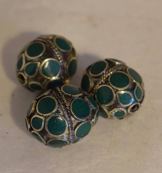 Beads Middle Eastern Green Stone Oval Brass Round Beads Handmade Handcrafted 5 Lot Green Beads Brass Crafts Jewelry Beads