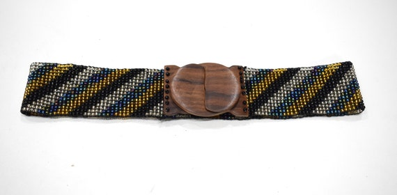 Belts Indonesian Beaded Stretch Assorted Iridescent Patterned Belts