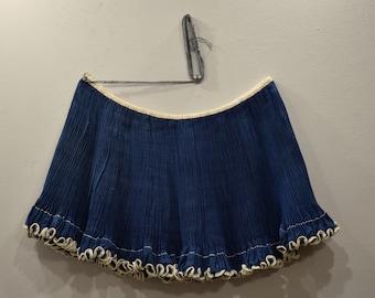 Chinese Miao Minority Tribe Pleated Blue Wrap Skirt