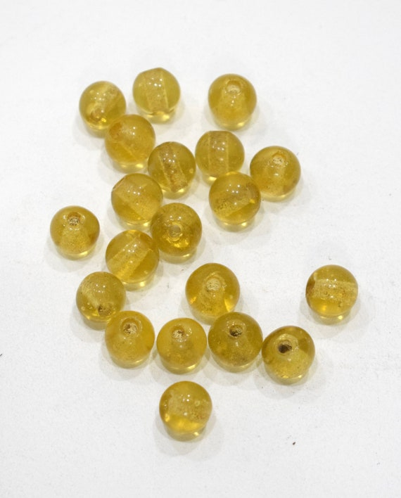 Beads Chinese Lemon Glass Beads 12mm