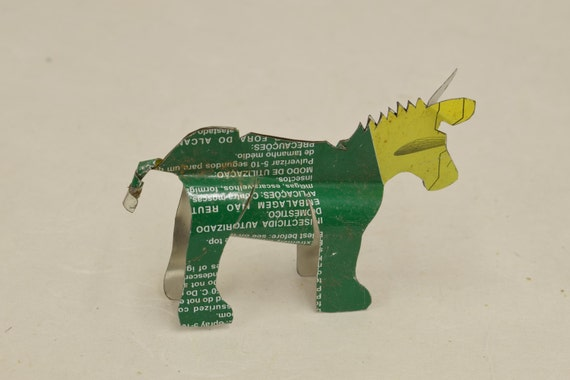 Toy Donkey African Recycled Yellow Green  Tin Can Tanzania Handmade Vintage Toy Donkey Animals Recycled Tin Unique One of a Kind