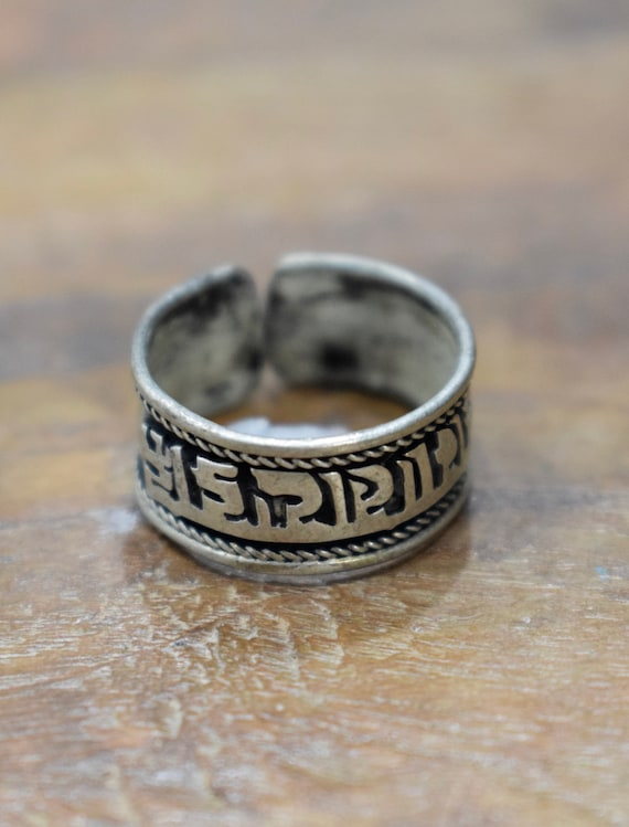 Ring Tibetan Silver Etched OM Band Ring