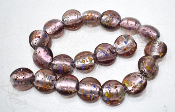 Beads Pink Silver Leaf Round Glass Beads 19-21mm