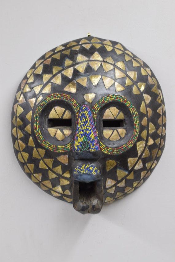 African Mask Baluba Wood Brass Yellow Blue Green Beaded Luba Handmade Mask Ceremonial Spiritual Mask