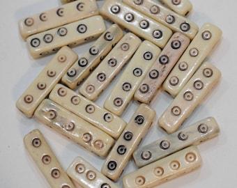 Beads Indonesian Bone Carved Tube Vintage 26mm
