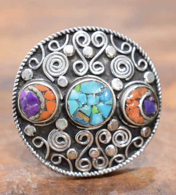 Ring Tibetan Coral Turquoise  Amethyst Silver Round Inlaid Ring