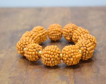 Bracelet Beaded Orange and Pearl Beaded Bead Elastic Bracelet
