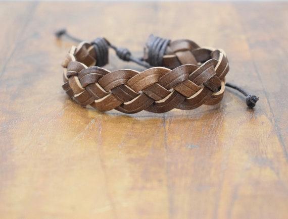 Bracelet Leather Brown Woven Tie Bracelet