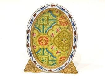 Picture Frame Cloisonne' Floral Brass China Enamel Decor Frame