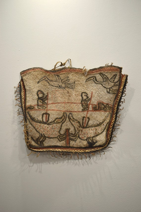Papua New Guinea Asmat Fiber Clan Drawn Figures Natural Fiber Bag