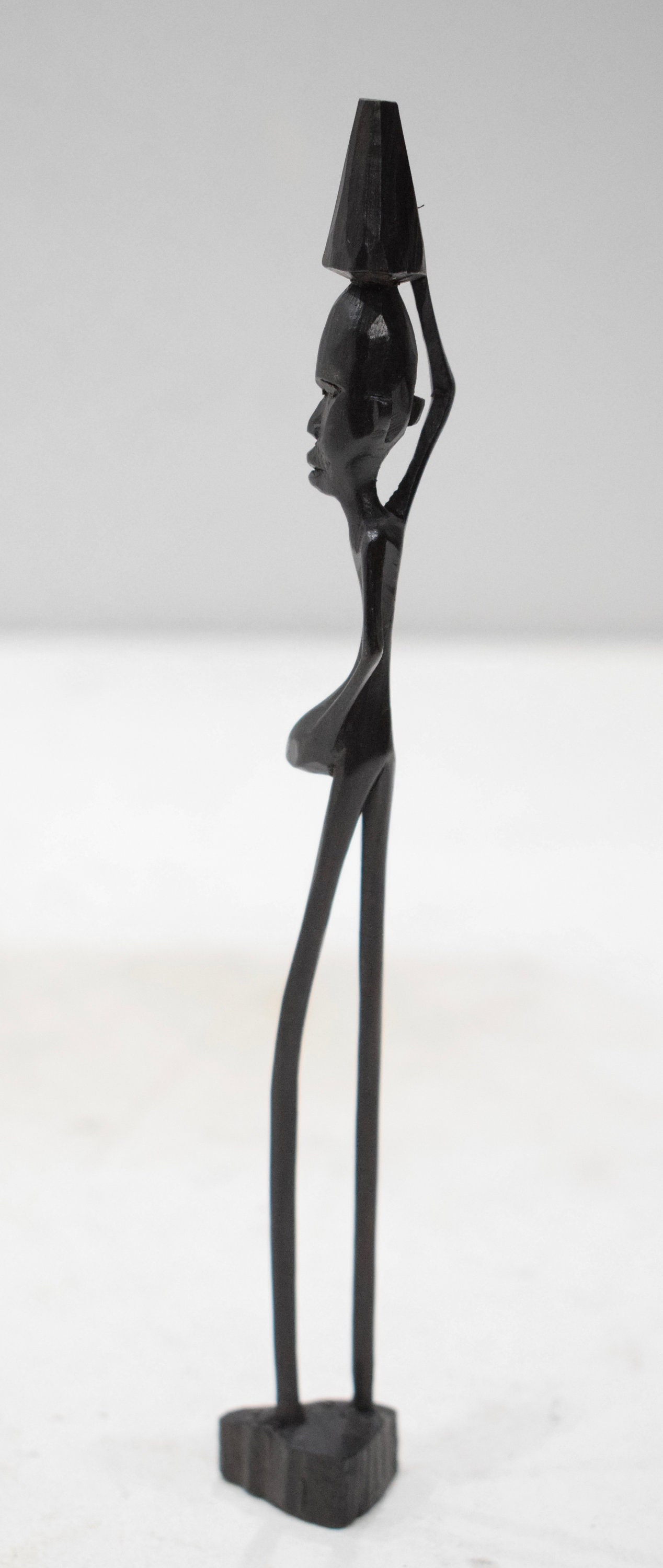 Old African Hand Carving from Kenya - Womans Head Statue