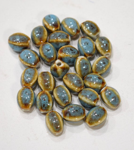 Beads Turquoise Oval Porcelain Beads 12mm