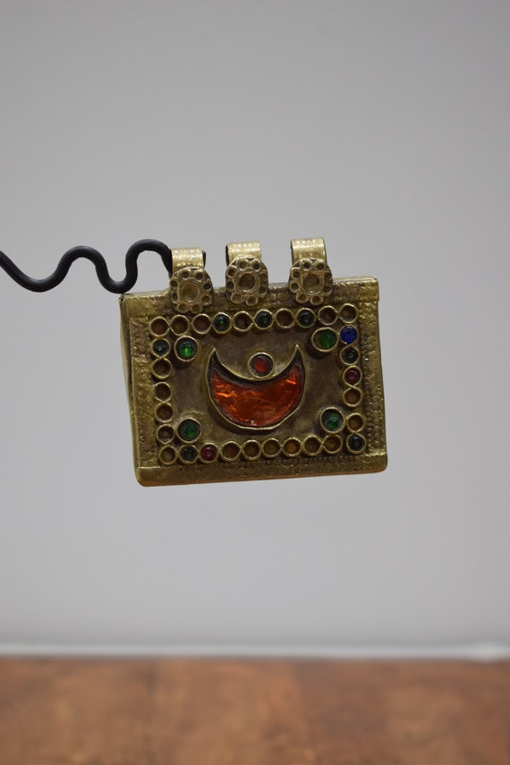 Pendant Middle Eastern Silver Kuchi Colored Glass Pendant